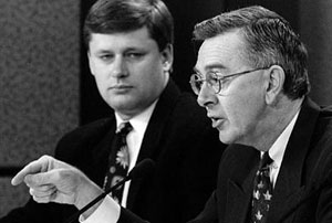 Young Stephen Harper and Preston Manning